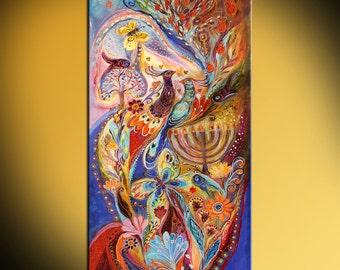 "Jewish art original painting ""Hanukkah in Magic Garden"" with Kabbalah symbols, Hebrew words and traditional Judaica attributes Art of Israel"