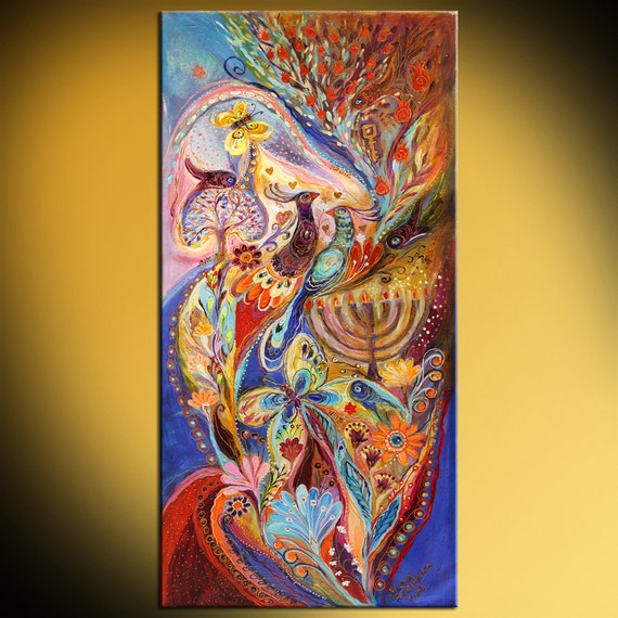 Jewish Art Original Painting Hanukkah In Magic