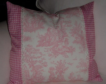 Accent Pillow - PINK TOILE and Pink Gingham Check PILLOW Cover