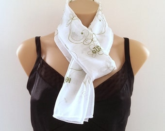 Clearanc White Chiffon Scarf Green Embroidered Flower Design
