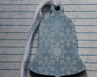 Gift Tags 19  snowflake blue and white chipboard Bell shaped Gift Tags Hang Tags