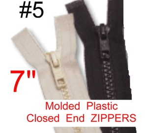 """10 Zippers - 7"""" - YKK Molded Plastic Zippers - 7 inch - Closed Bottom, Size 5 - BLACK or WHITE"""
