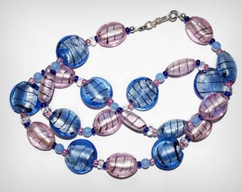 Pink and Blue Champagne Fizz Murano Style Lampwork Bead Necklace Sarahbushka Black Stringer
