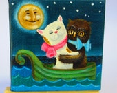 """Miniature Acrylic Painting on 2 1/2"""" x 2 1/2"""" Canvas With Easel, Mini Art, Story Book Fairy Tale  Owl and the Pussy Cat Child's Room Nursery"""