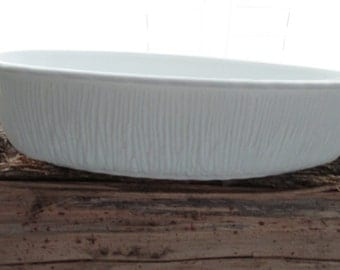 Vintage 1975 FTD Oval Milk Glass Serving Bowl//Planter//Twig and Grass Pattern