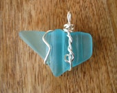 Sea Glass Mason Jar Lip glass pendant, beach glass inspired vintage aqua glass pendant wired wrapped and whimsical