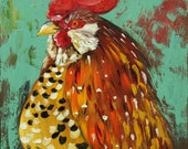 Rooster 703 16x20 inch original animal portrait rooster oil painting by Roz