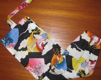 Grocery Store Plastic Bag Dispenser Asian Japanese Fabric Geisha Utamaro Design