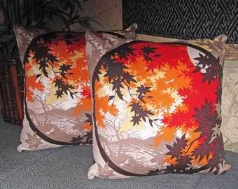 Decorative Pillow Zippered Covers Set of 2 Japanese Autumn Maple Leaves Design 20 inch