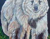 White Spirit Bear Kermode  Original Canvas Painting Wildlife Art-Carla Smale