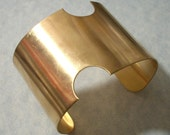 Unfinished Raw Brass Cuff Bracelet Blank 2 Inches Wide Notched Cuff Great for Altered Art and Image Transfer Projects