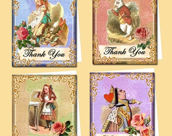 "Alice In Wonderland-Four CHaRMiNG Vintage ARt- ThANK YoU Note Cards-4""x5""- Instant Download-TWO Printable JPG Digital Files-NeW LoWER PRiCE"