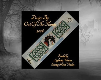Bead PATTERN Celtic Dragon Cuff Bracelet Peyote Brick Stitch