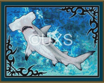 Hammer Head Shark Tribal cross stitch pattern