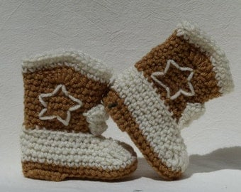 Crocheted Baby Cowboy Booties Handmade choose a size and decoration