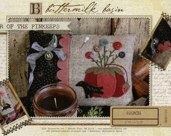 Primitive Folk Art Wool Applique Pinkeep Pattern - Buttermilk Basin  - Year of Pinkeeps - March Tomato Cushion