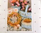 Vintage 1980's  Basket and Eggs Pattern  Uncut Complete Original factory folds
