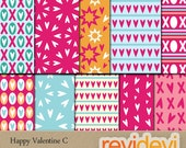 Valentine Day Digital Papers - pink, blue - Happy Valentine C 10088