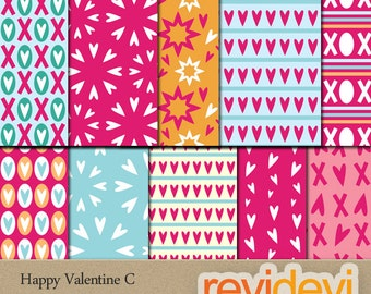 Valentine papers digital download / pink blue digital paper Valentine's day, commercial use digital scrapbooking papers