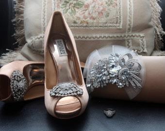 Rhinestone Bridal Clutch in Dark Champagne - Bridesmaid Clutch - Formal Clutch - Rhinestone Clutch - Ivory Organza Flower SALE