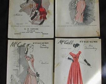 Original Vintage Paper Ephemera 1940s McCall Fashion Sewing Pattern Style News Booklets 4