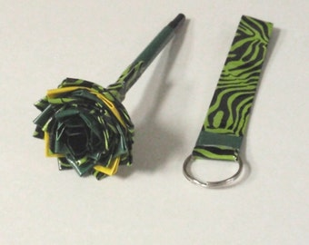 Flower pen green zebra and key fob - duck duct tape