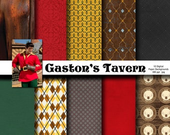 Disney Gaston Inspired 12x12 Digital Paper Backgrounds for Digital Scrapbooking, Party Supplies, etc -INSTANT DOWNLOAD