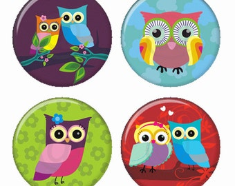 Colorful Pretty Owls Magnets or Pinback Buttons or Flatback Medallions Set of 4