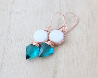 Arrowhead Druzy Gemstone Earrings, Teal Quartz White Bezel Wrapped Rose Gold FIlled Tribal Fashion - Compass