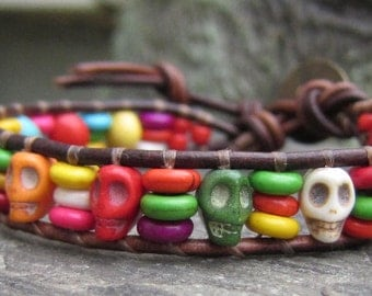 Brown Leather Wrap Beaded Wrap Bracelet with Colorful Skull Beads