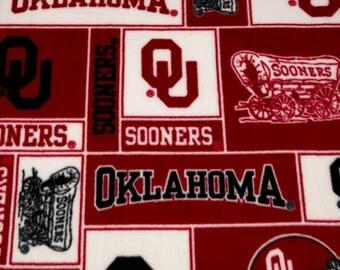 University of Oklahoma Sooners fleece fabric - 1/2 yard remnant