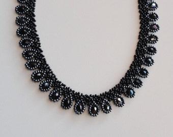 Handmade black and gunmetal dressy teardrop beaded choker necklace
