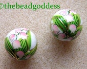 PAIR Japanese TENSHA Beads Lily of the Valley on White 12mm