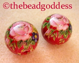 NEW Pair Japanese TENSHA Beads Pink Roses on Rich Red 10mm