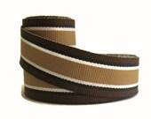 "7/8"" Striped Grosgrain Ribbon by the yard / Brown Striped Ribbon / Rocky Road / Hair Bow Supplies, Tan Black White Preppy Ribbon made in USA"
