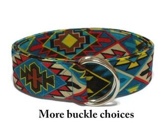 Southwestern Belt- Native American Belt- Indian D-Ring Belt- Blue Aztec Belt- Skinny Fabric Belt- Mesa Verde