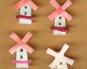 vintage celluloid buttons windmill shape, so pretty four buttons