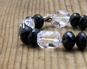 Rock Crystal Quartz and Garnet Luxe Gemstone Modern Beaded Bracelet Boutique Wearable Art Black and White