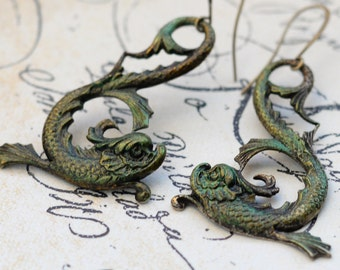 Pisces Earrings, March Gift, Baroque Dolphin Earrings, Dragon Fish, Water Dragon, Green Koi Fish Earrings, Patina Earrings, Asian Earring