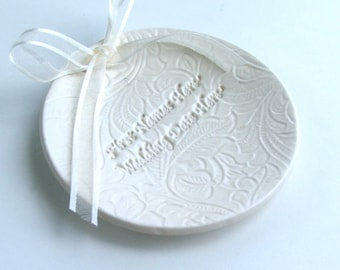Personalized wedding Porcelain ring dish, Custom Made with Names and Date, Lacy Background, Ceramic ring plate