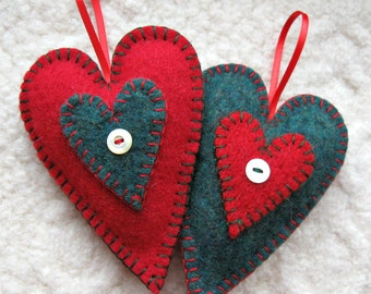 Homespun Heart Felt Ornaments, Set of Two, Red and Green Upcycled Sweater Wool Christmas Ornaments