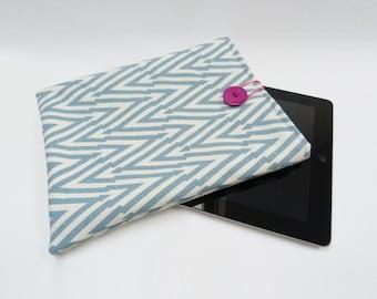 Blue and cream chevron stripe cotton iPad sleeve
