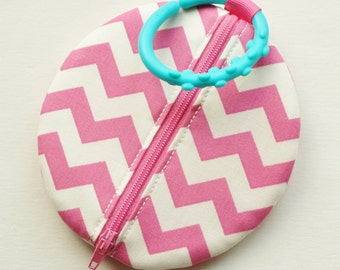 Paci Pod Preppy Pink Chevron Girl Pacifier Pouch
