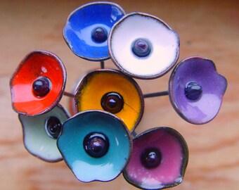 Custom order 8 Enameled 'poppy' Headpins by fireballbeeds  (.5 inch, 1.25 cm poppy)
