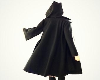 Black Boiled Wool Wrap Coat with Detachable Hood