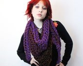 My Love Rasta chunky lace cowl scarf open end Vegan Boho AIR eggplant purple brown black