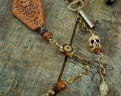 The Lovely Coffin - Leather, Brass, Beaded Necklace