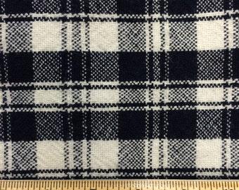 Vintage Navy Blue White Plaid 100% Wool Fabric -3 Yards- Plaid Wool / Vintage Plaid / Blue Wool / White Wool / Wool Yardage / Vintage Wool