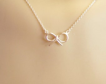 Bow necklace, Sterling silver bow necklace,.925 sterling silver bow necklace,