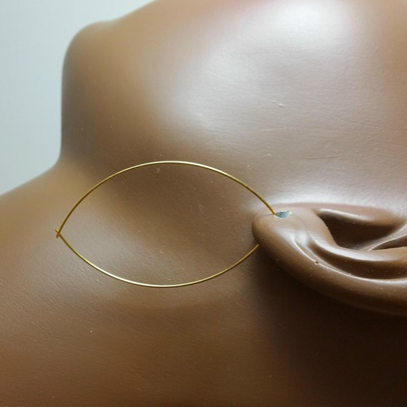 Gold hoop earrings 2 or 2.5 or 3 inch ultra thin oval wire open threader dangle bestseller Buy 2 get 3rd pair FREE 447